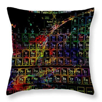 Colorful Periodic Table Of The Elements On Black With Water Splash Throw Pillow by Eti Reid