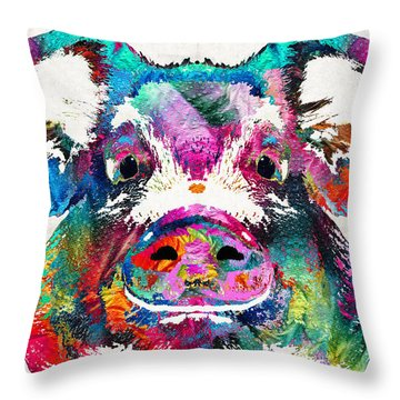 Colorful Pig Art - Squeal Appeal - By Sharon Cummings Throw Pillow