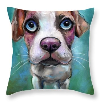 Colorful Pit Bull Puppy With Blue Eyes Painting  Throw Pillow