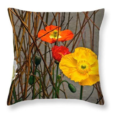 Colorful Poppies And White Willow Stems Throw Pillow