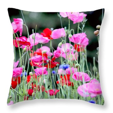 Throw Pillow featuring the photograph Colorful Poppies by Peggy Collins
