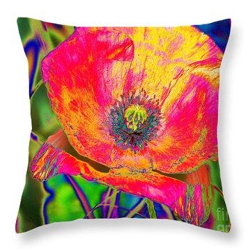 Colorful Poppy Throw Pillow by Carol Lynch