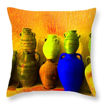 Colorful Pottery Throw Pillow by Randi Grace Nilsberg