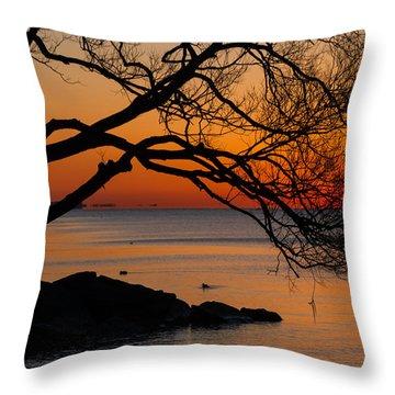 Colorful Quiet Sunrise On Lake Ontario In Toronto Throw Pillow