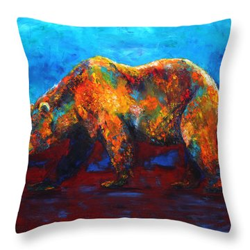 Colorful Reflections Bear Painting Throw Pillow