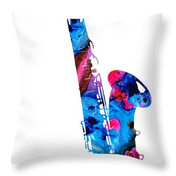 Colorful Saxophone 2 By Sharon Cummings Throw Pillow