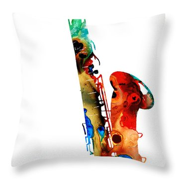 Colorful Saxophone By Sharon Cummings Throw Pillow