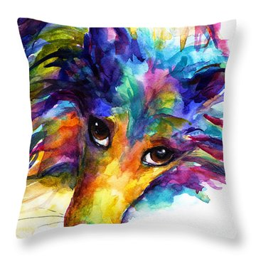 Colorful Sheltie Dog Portrait Throw Pillow