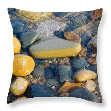 Colorful Shore Rocks Throw Pillow by Mary Bedy