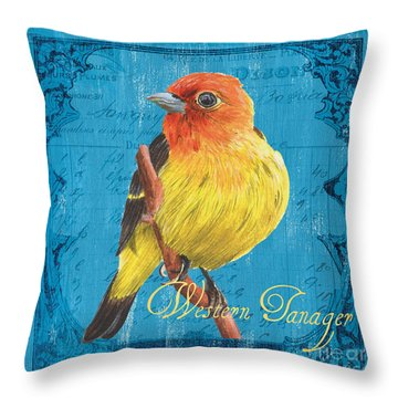 Colorful Songbirds 4 Throw Pillow by Debbie DeWitt