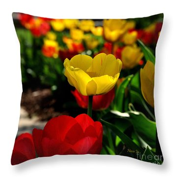 Colorful Spring Tulips Throw Pillow
