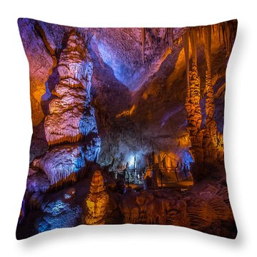 Colorful Stalactite Cave Throw Pillow