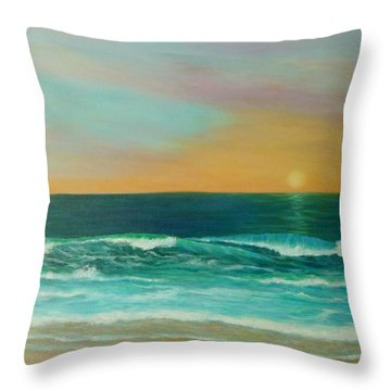 Colorful Sunset Beach Paintings Throw Pillow by Amber Palomares
