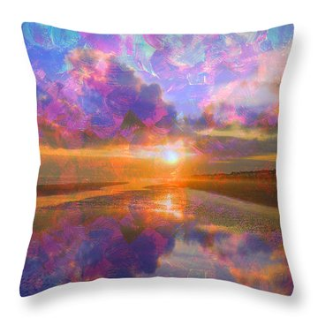 Colorful Sunset By Jan Marvin Throw Pillow