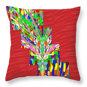 Throw Pillow featuring the photograph Colorful Tree Of Life Abstract Red Sparkle Base by Navin Joshi