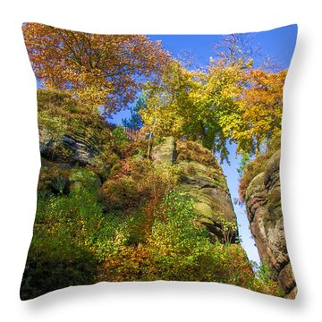 Colorful Trees In The Elbe Sandstone Mountains Throw Pillow