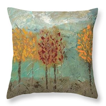 Colorful Trees Throw Pillow by Linda Bailey
