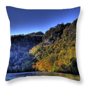 Throw Pillow featuring the photograph Colorful Trees Over A Lake by Jonny D
