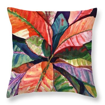 Colorful Tropical Leaves 1 Throw Pillow by Marionette Taboniar