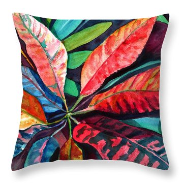 Colorful Tropical Leaves 2 Throw Pillow