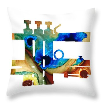 Colorful Trumpet Art By Sharon Cummings Throw Pillow