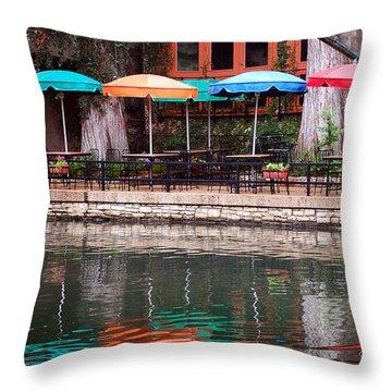 Colorful Umbrellas Reflected In Riverwalk Under Footbridge San Antonio Texas Vertical Format Throw Pillow by Shawn O'Brien