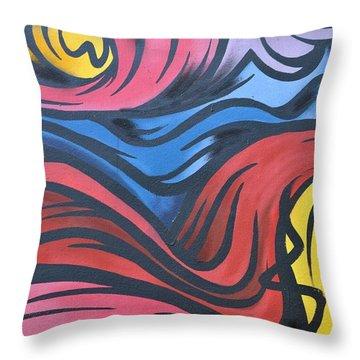 Throw Pillow featuring the photograph Colorful Urban Street Art From Singapore by Imran Ahmed