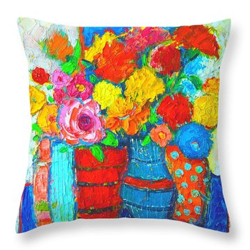 Colorful Vases And Flowers - Abstract Expressionist Painting Throw Pillow