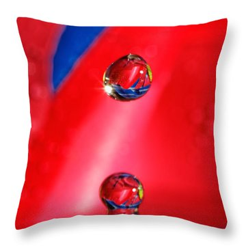 Throw Pillow featuring the photograph Colorful Water Drop by Peter Lakomy