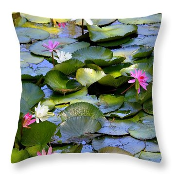 Colorful Water Lily Pond Throw Pillow