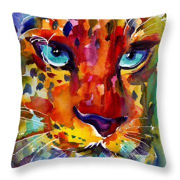 Colorful Watercolor Leopard Painting Throw Pillow