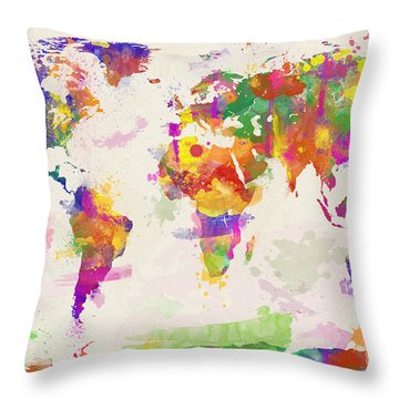 Colorful Watercolor World Map Throw Pillow by Zaira Dzhaubaeva