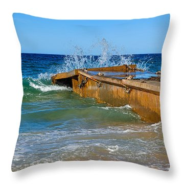 Colorful Waves Around Old Pier Throw Pillow by Kaye Menner