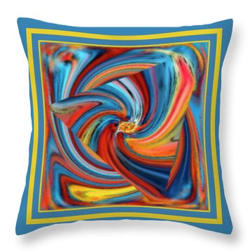 Colorful Waves Throw Pillow by Ben and Raisa Gertsberg