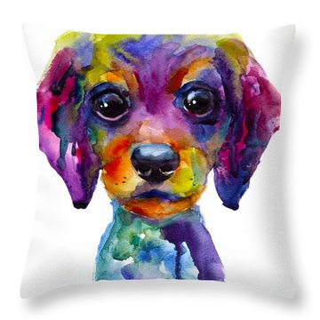 Colorful Whimsical Daschund Dog Puppy Art Throw Pillow