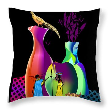 Throw Pillow featuring the digital art Colorful Whimsical Stll Life by Arline Wagner