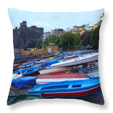Colorful Wooden Fishing Boats Of Aci Castello Sicily With 11th Century Norman Castle Throw Pillow by Jeff at JSJ Photography