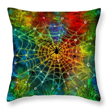 Colorful World Of Spiders Throw Pillow