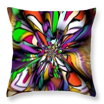 Throw Pillow featuring the digital art Colorful Worm By Nico Bielow by Nico Bielow