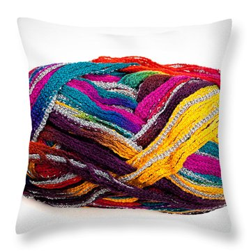 Colorful Yarn Throw Pillow