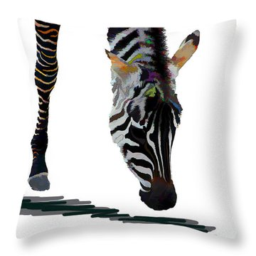 Colorful Zebra 2 Throw Pillow by Teresa Zieba