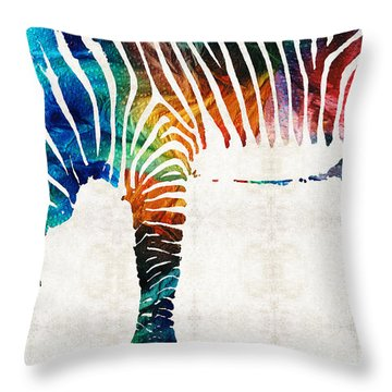 Colorful Zebra Art By Sharon Cummings Throw Pillow