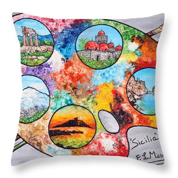 Colori Di Sicilia Throw Pillow