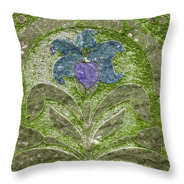 Colorized Moss Covered Gravestone  Throw Pillow by Jean Noren