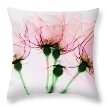Colorized X-ray Of Roses Throw Pillow by Scott Camazine