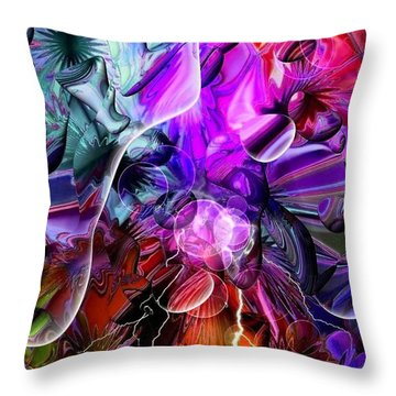 Throw Pillow featuring the digital art Colors Dark By Nico Bielow by Nico Bielow