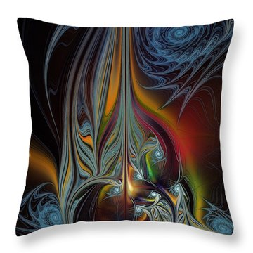 Colors In Motion-fractal Art Throw Pillow by Karin Kuhlmann