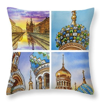 Colors Of Russia Church Of Our Savior On The Spilled Blood  Throw Pillow by Irina Sztukowski