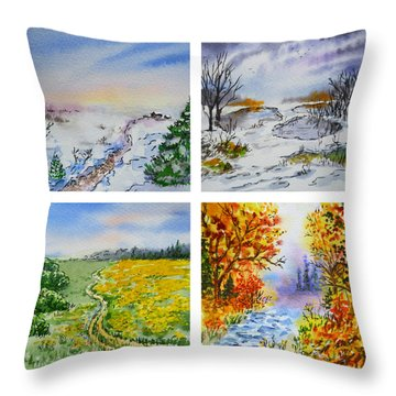 Colors Of Russia Four Seasons Throw Pillow by Irina Sztukowski