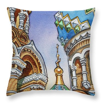 Colors Of Russia St Petersburg Cathedral II Throw Pillow by Irina Sztukowski